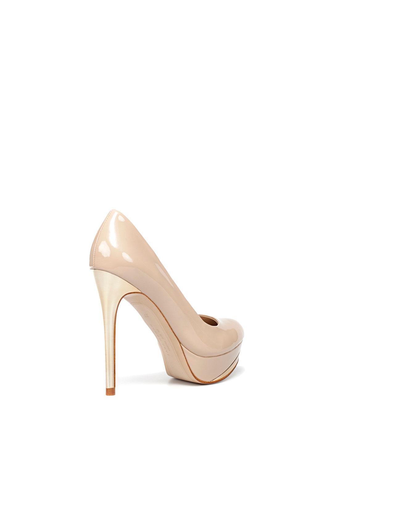 zara patent leather platform court shoe in beige lyst