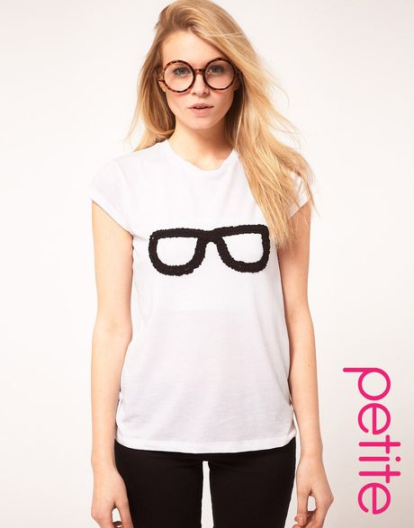 Asos petite t shirt with geek chic print in white lyst for Petite white tee shirt