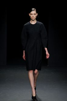 Calvin Klein Fall 2012 Knee-Length Wool Dress with Sculpted Sleeves - Lyst