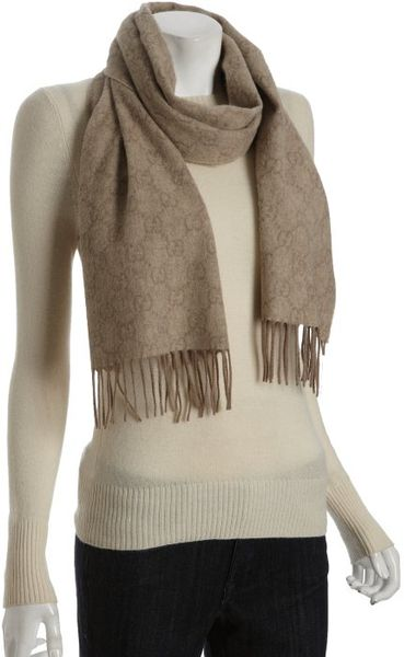 Gucci Oatmeal Gg Cashmere Scarf in Beige (oatmeal) - Lyst