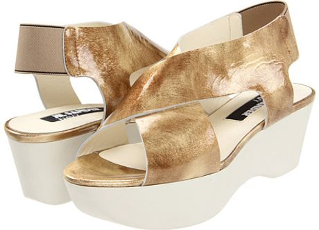 Jil Sander Platform Sandals in Gold (b) - Lyst