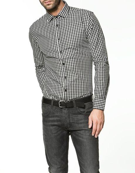 Zara gingham check shirt in black for men lyst for Zara mens shirts sale