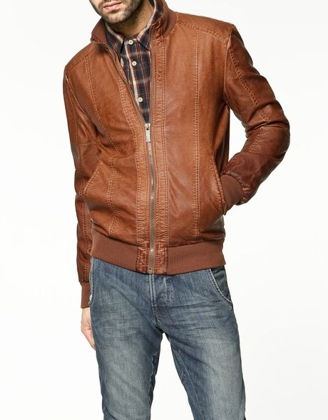 Zara Synthetic Leather Jacket in Brown for Men   Lyst