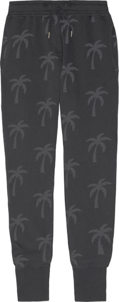 Zoe Karssen Palm Tree-print Cotton-blend Fleece Track Pants in Gray (charcoal)