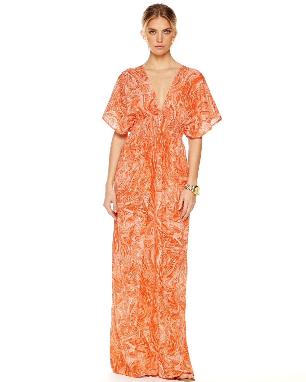 2f22ec34d852c Michael Kors Smocked Maxi Dress in Orange - Lyst