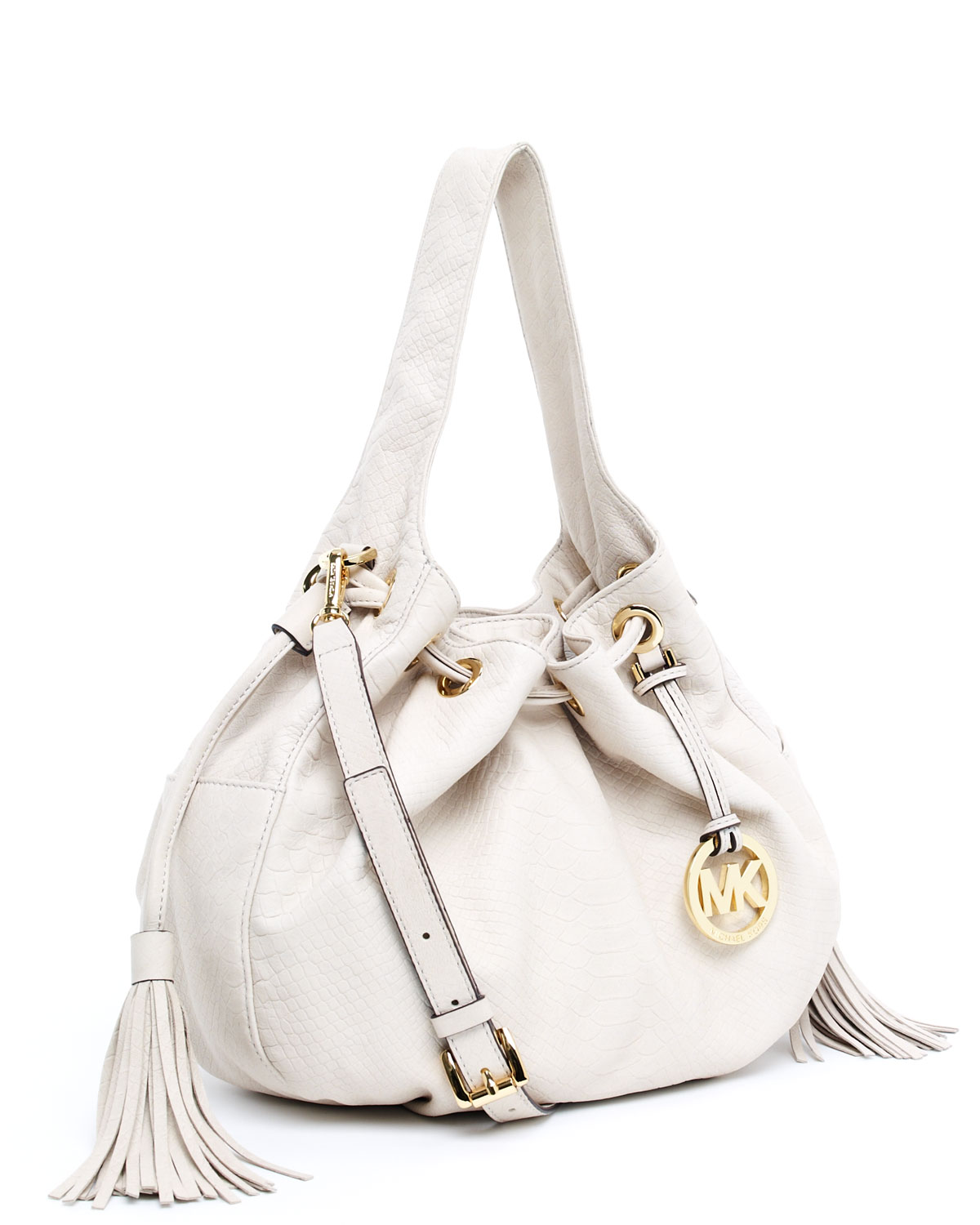 how to purchase elegant in style catch Marina Leather Large Drawstring Shoulder Tote, Dove White