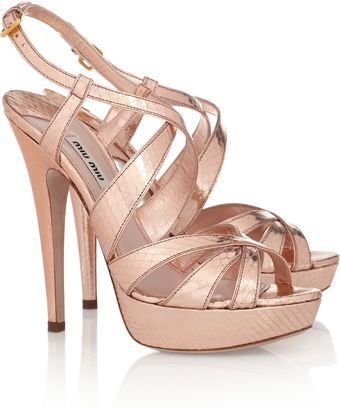 Miu Miu Metallic Watersnake Sandals - Lyst