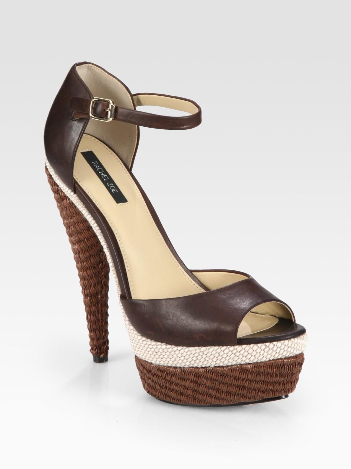 899636b78f7 Lyst - Rachel Zoe Bardot Raffia and Leather Platform Sandals in Brown
