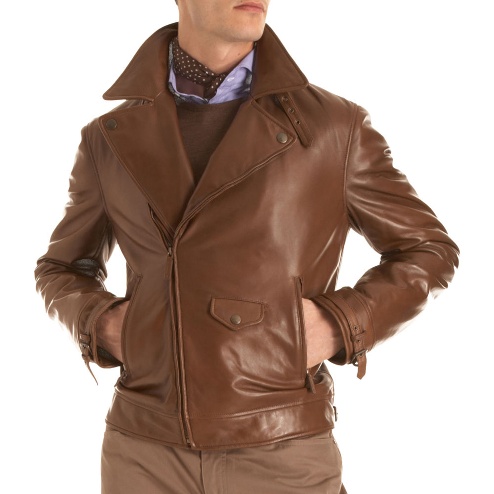 Ralph Lauren Purple Label Short Leather Jacket in Brown for Men | Lyst