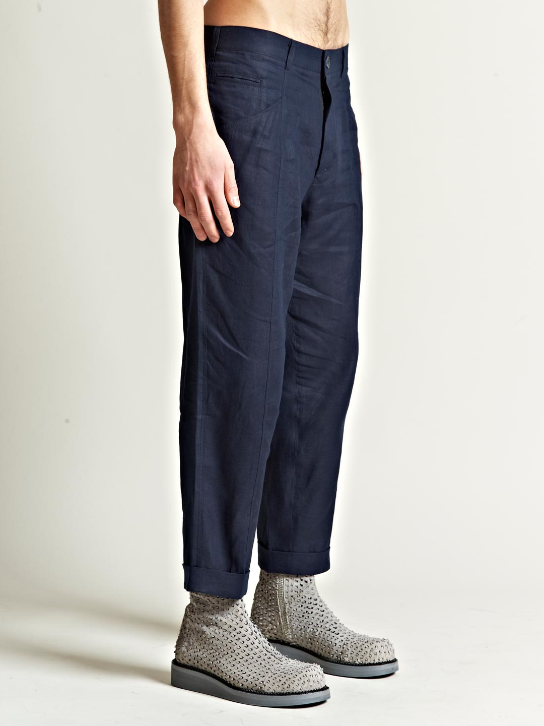 James Long Mens Turn Up Trousers in Navy (Blue) for Men