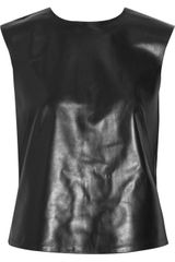 Tibi Leather And Stretch-Jersey Top
