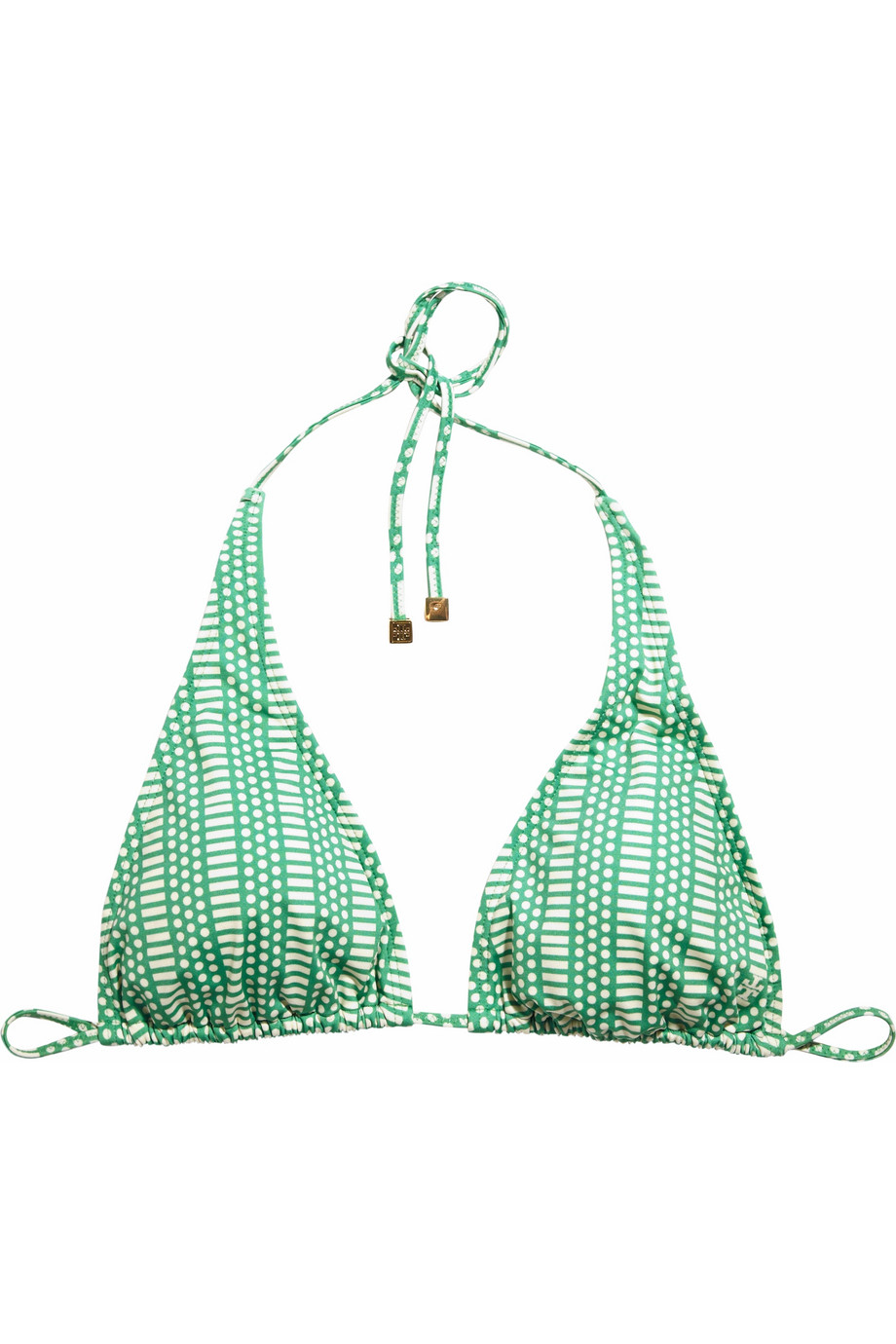 Tory burch printed triangle bikini top in green lyst for Tory burch fashion island
