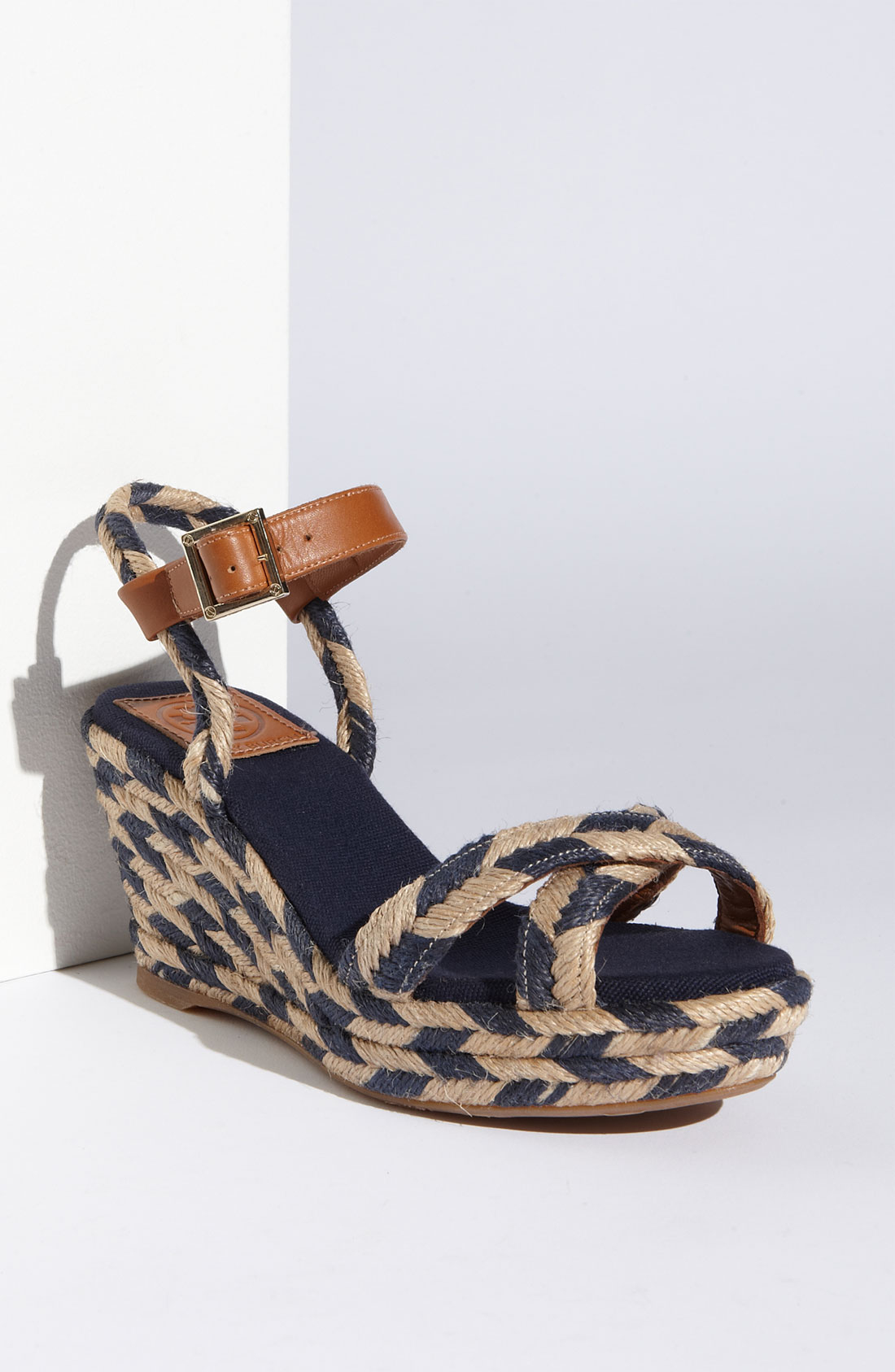 Tory Burch Camelia Mid Wedge Espadrille In Blue