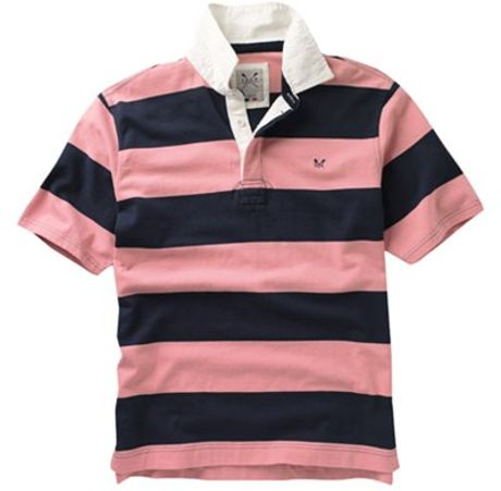 Crew clothing alcott stripe short sleeve rugby shirt navy for Pink and purple striped rugby shirt