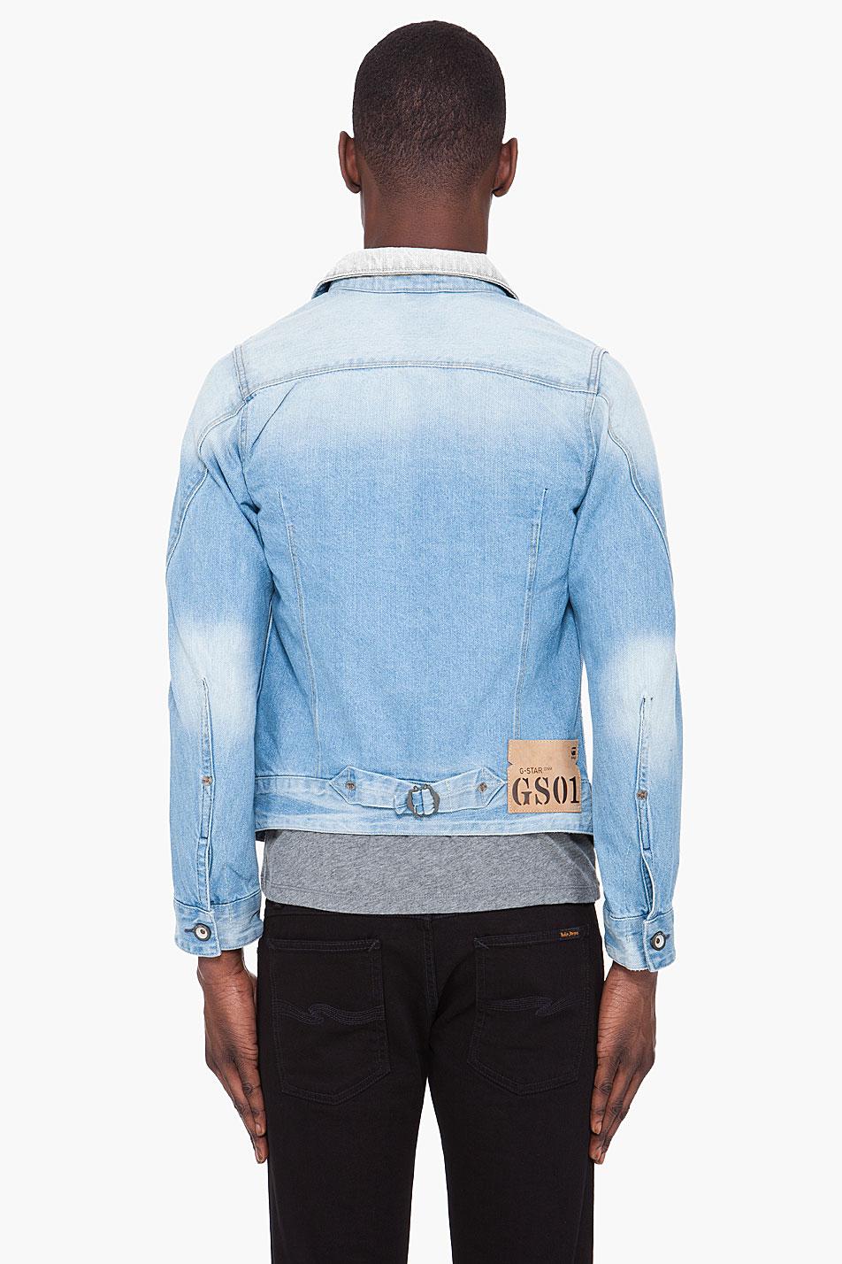 lyst gstar raw faded arc denim jacket in blue for men