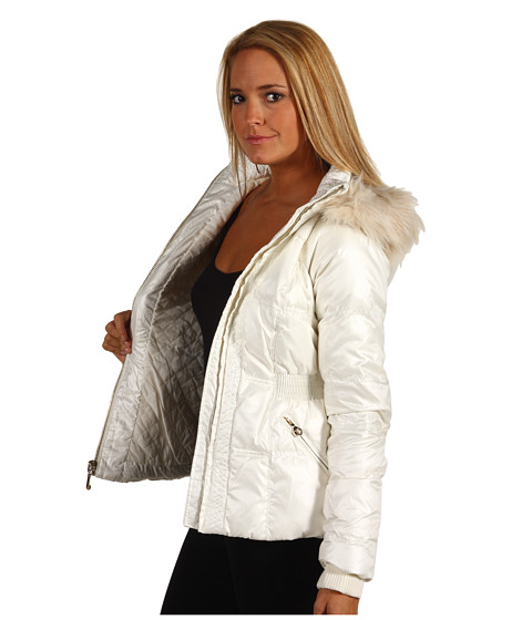 Juicy Couture Shimmer Puffer Jacket In White Lyst