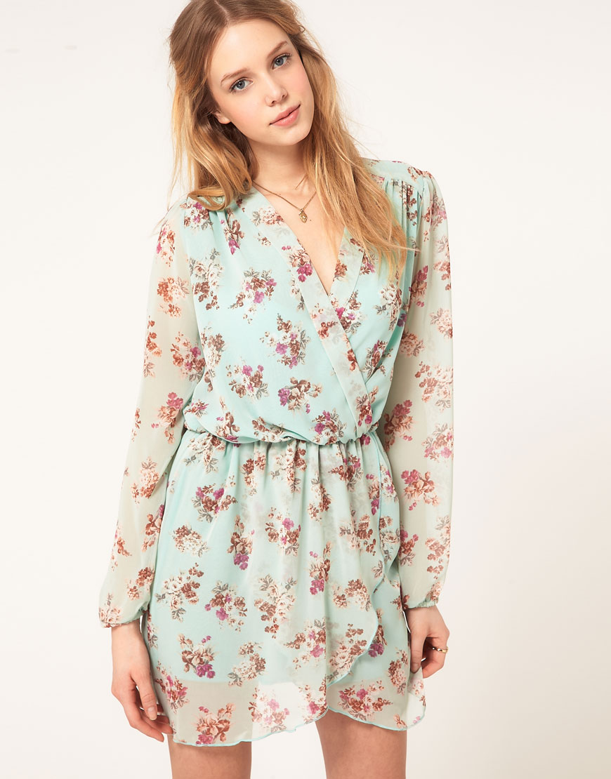 Love Chiffon Floral Print Wrap Dress | Lyst