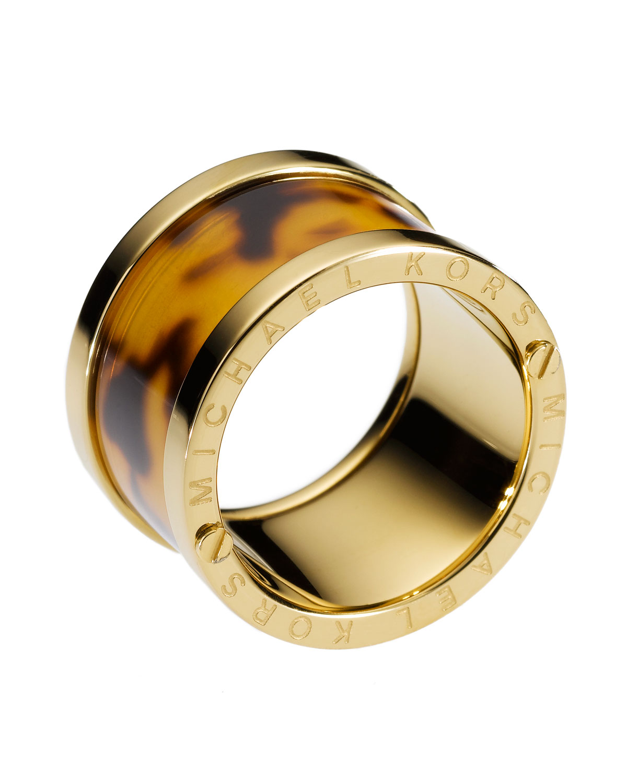 michael kors tortoise design barrel ring in metallic lyst. Black Bedroom Furniture Sets. Home Design Ideas