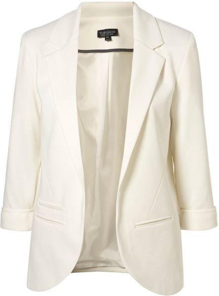 Topshop Ponte Boyfriend Blazer in White (ivory)