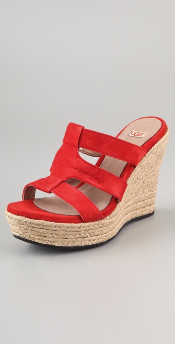 Lyst Ugg Tawnie Suede Wedge Sandals In Red
