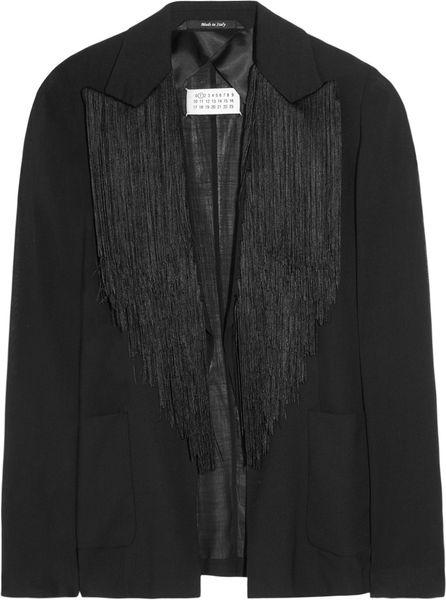 Maison Martin Margiela Fringed Crepe Jacket in Black