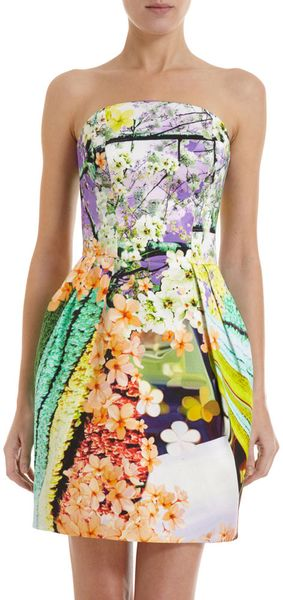 Mary Katrantzou Balalaika Strapless Puff Dress in Multicolor (mint) - Lyst