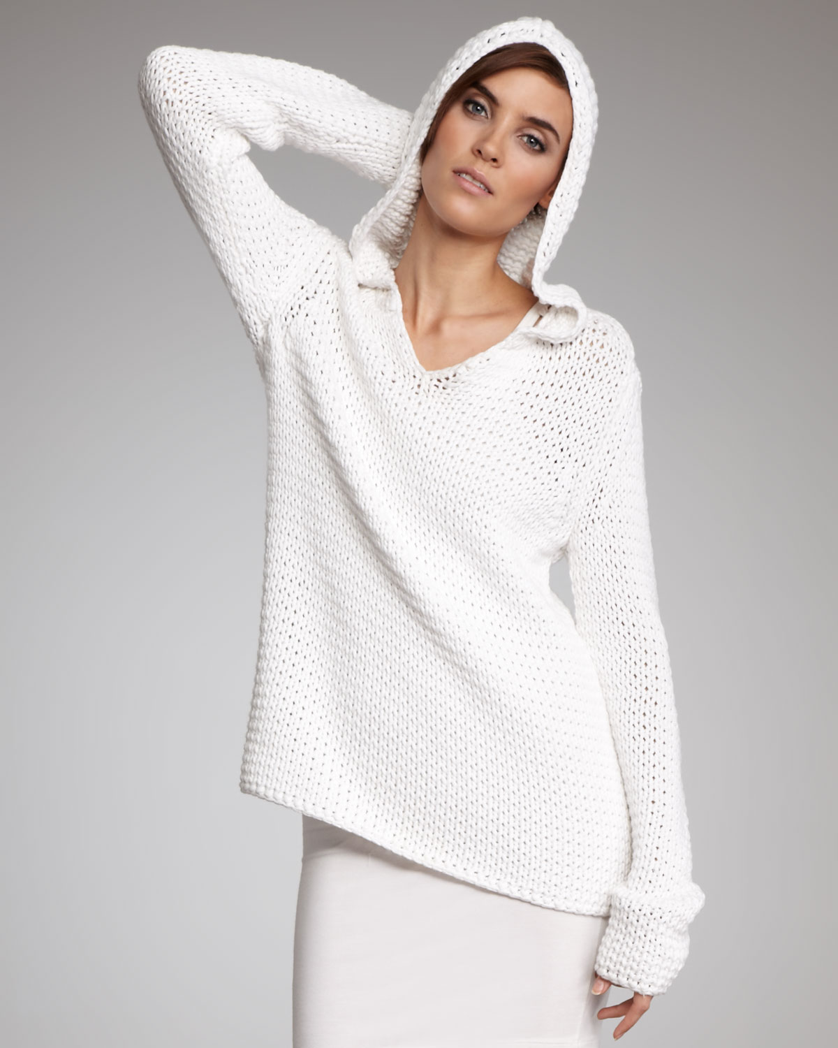 T by alexander wang Open-Knit Hooded Sweater in White | Lyst