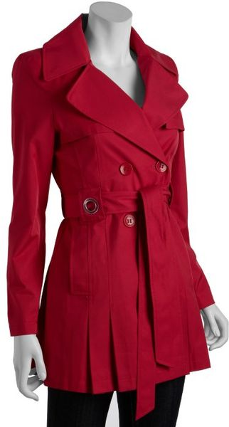 Via Spiga Raspberry Double-breasted Scarpa Belted Trench Coat in Red (raspberry)