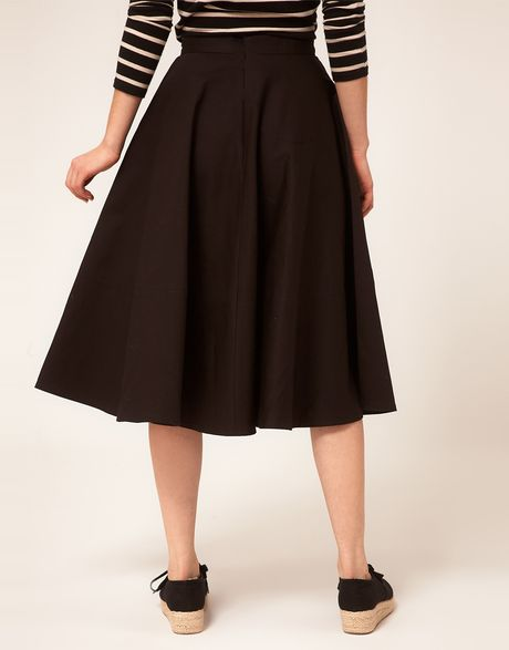 asos collection asos fit and flare midi skirt in black lyst