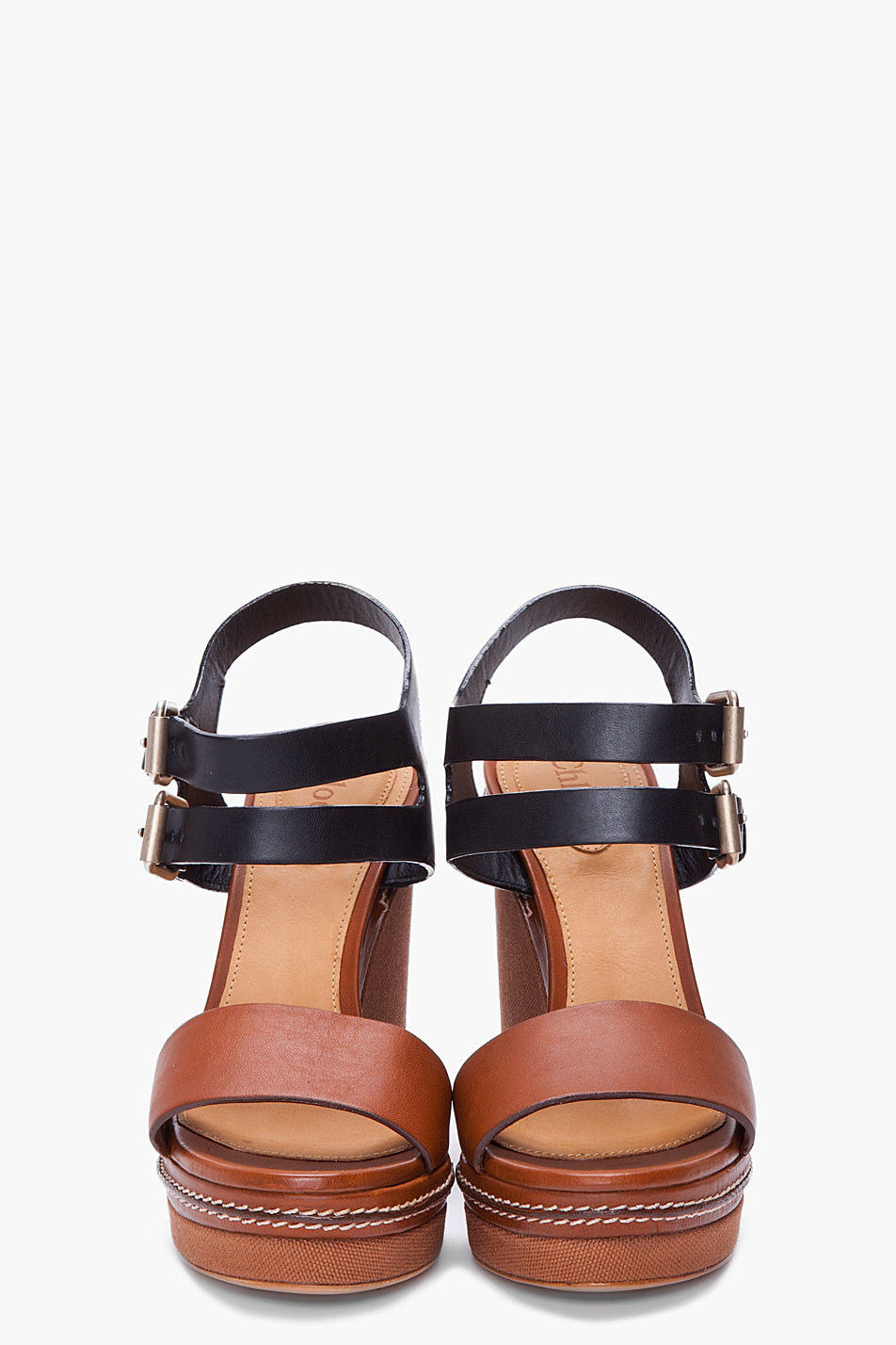 Chlo 233 Black And Brown Wedges Lyst