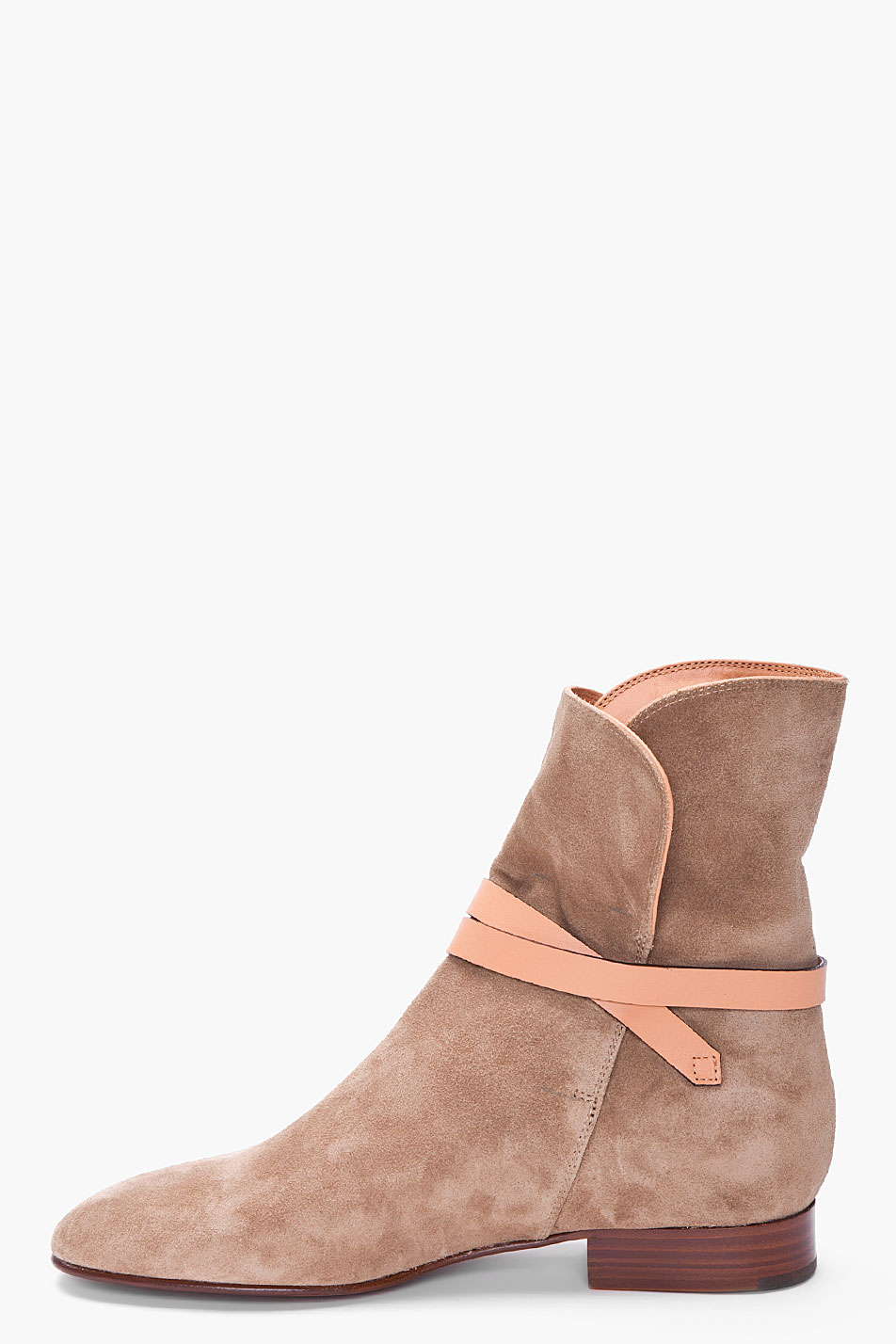 chlo 233 taupe suede ankle boots in brown lyst