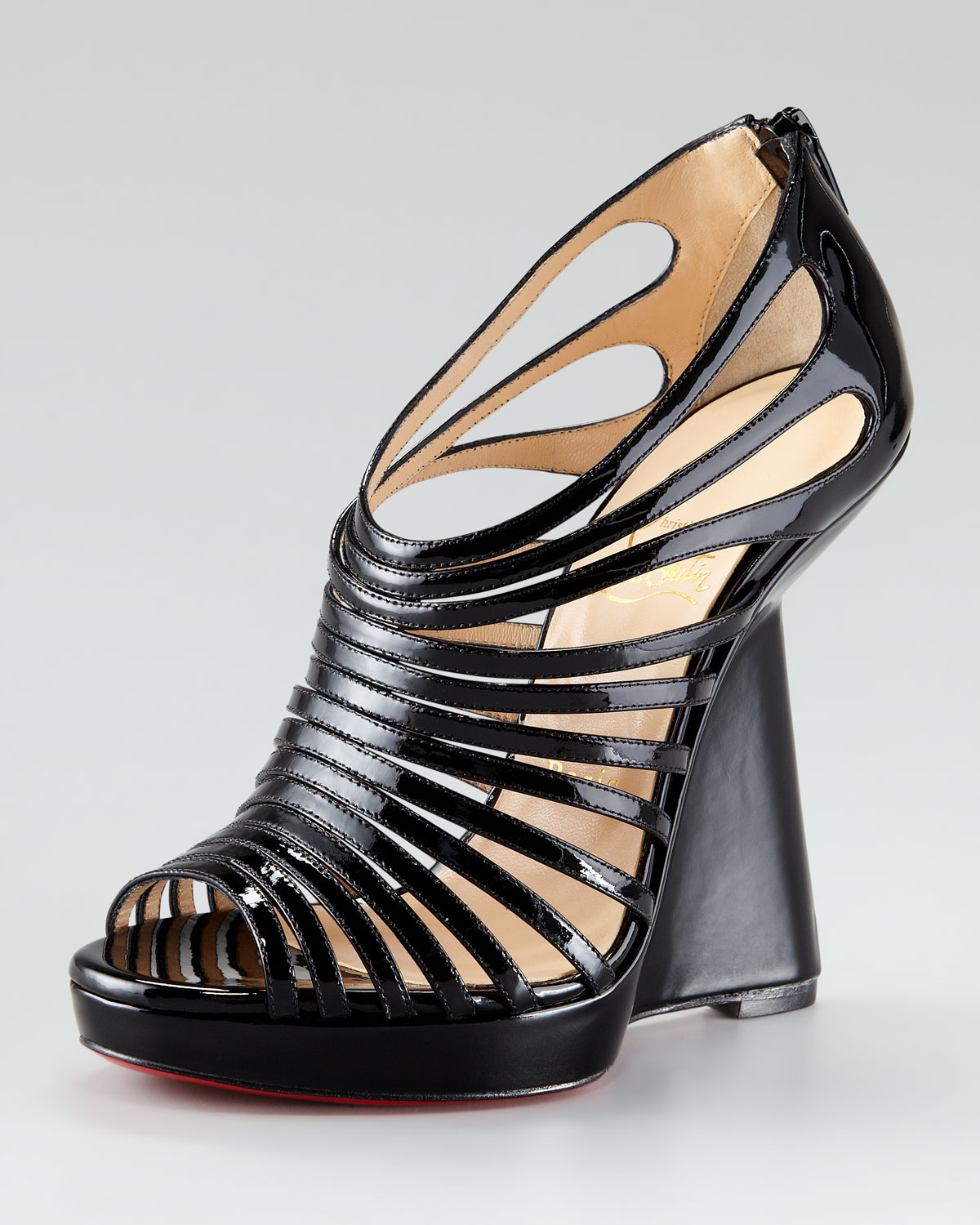 mens replica christian louboutin shoes - Christian louboutin Disco Queen Patent Cage Wedge in Black | Lyst