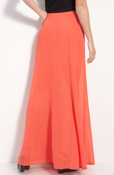 hinge 174 sheer chiffon maxi skirt in pink paprika lyst