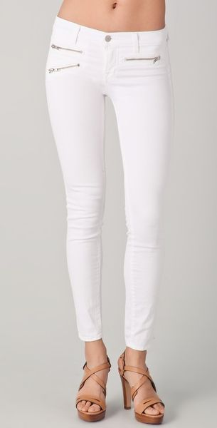 J Brand Zoey Triple Zip Skinny Jeans in White