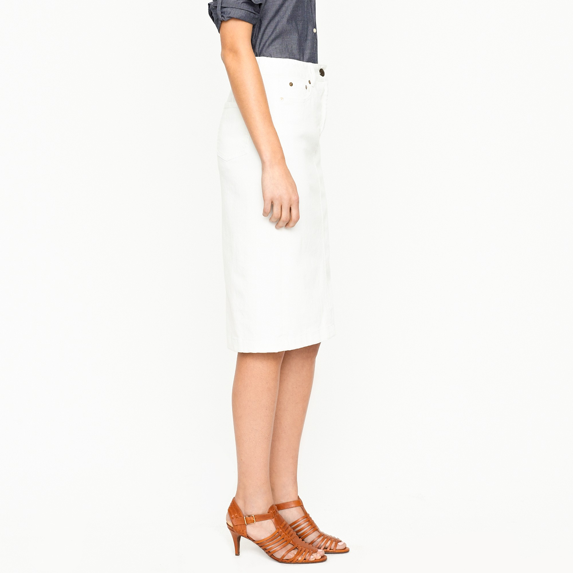 J.crew High-waisted Denim Pencil Skirt in Sunwhite Wash in ...