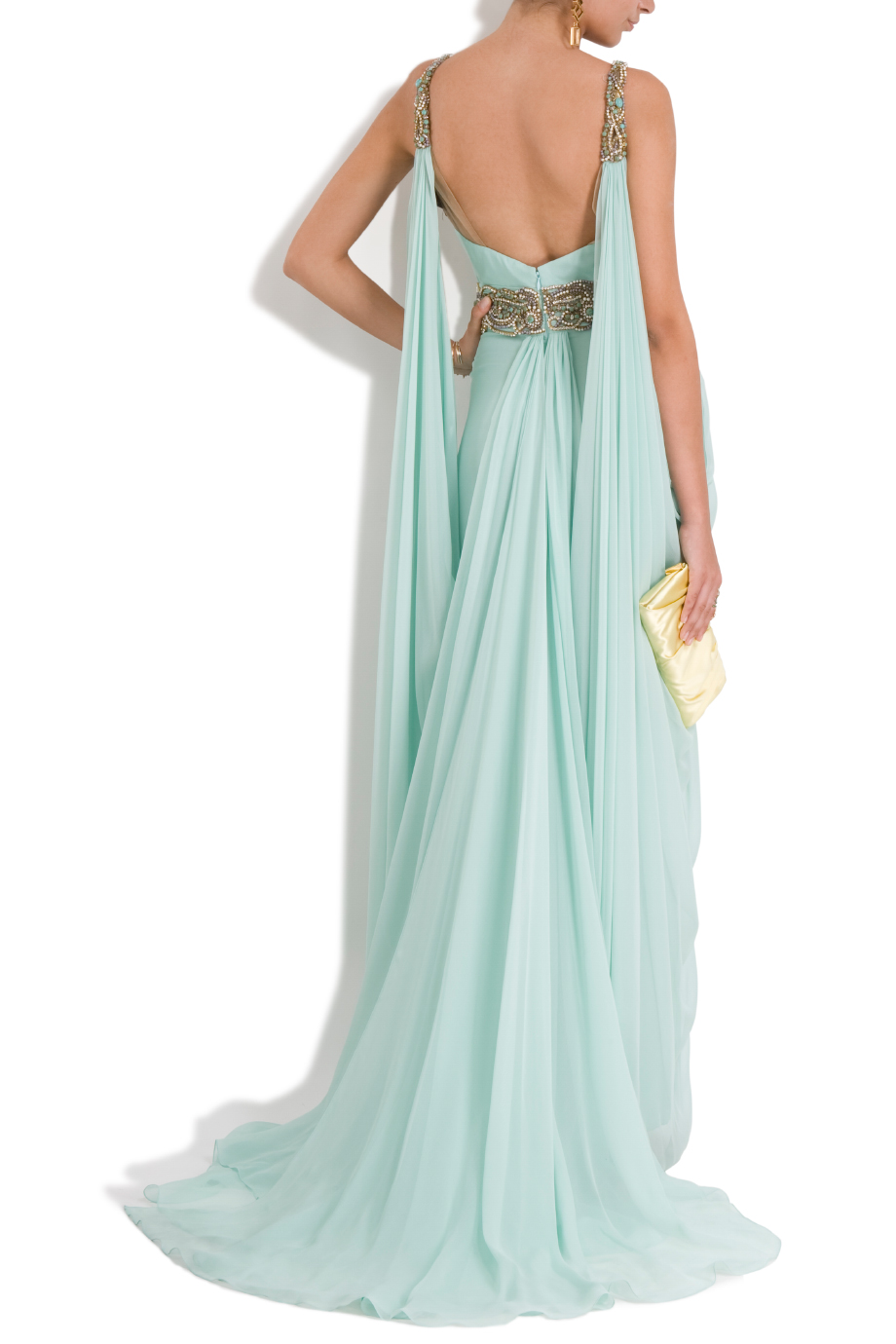 Marchesa chiffon embellished grecian gown in blue lyst for Greek goddess style wedding dresses