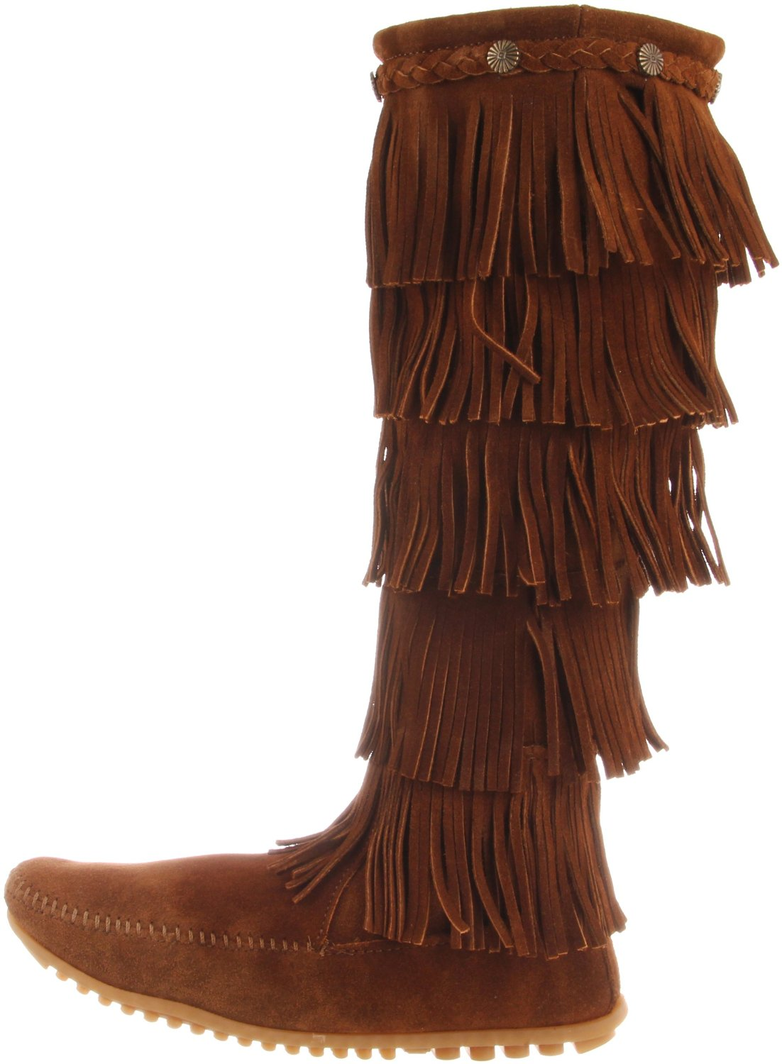 minnetonka 5 layer fringe boot in brown lyst