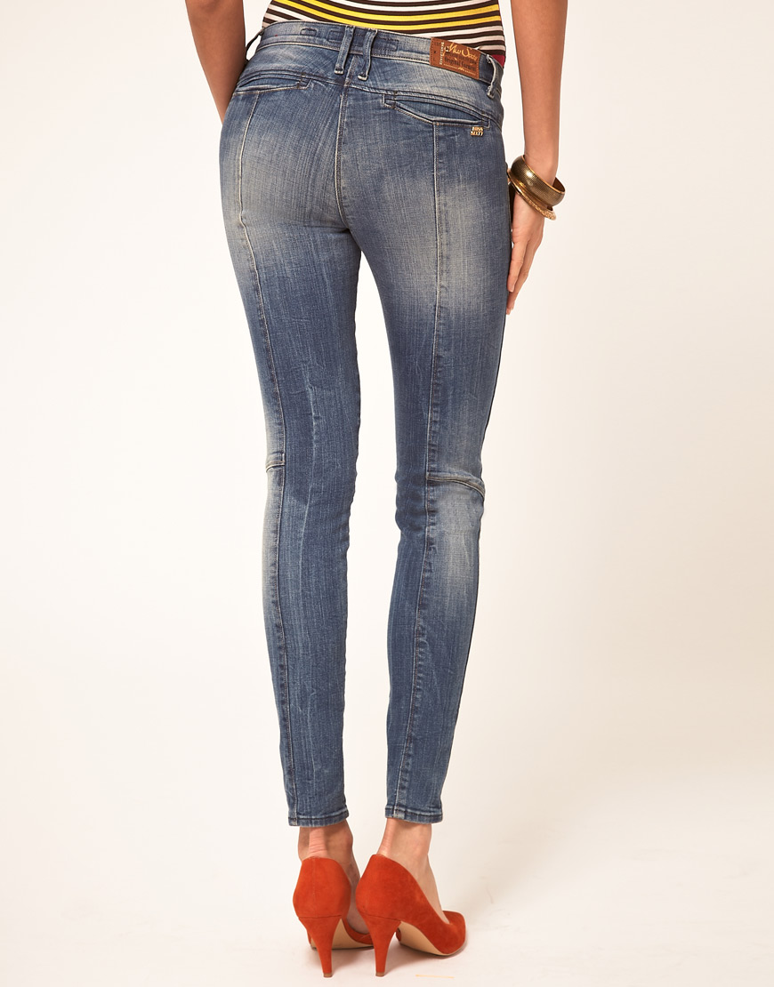 Miss sixty Skinny Jeans With Zips in Blue | Lyst