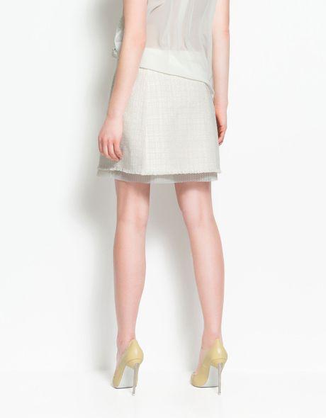 zara structured a line skirt in beige ecru lyst