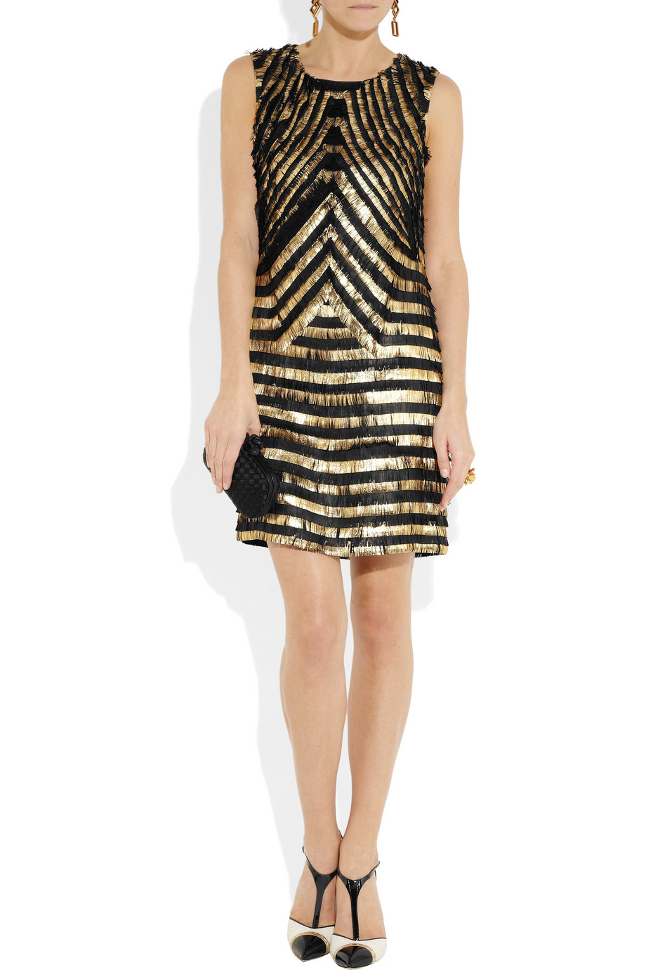 Lyst Gucci Metallic Striped Fringed Leather Dress In Black