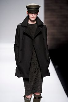 Max Mara Fall 2012 Double Breasted Wool Military Style Coat With Pockets In Dark Grey - Lyst