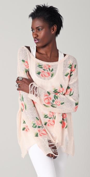 Lyst Wildfox White Label Prairie Rose Sweater In White