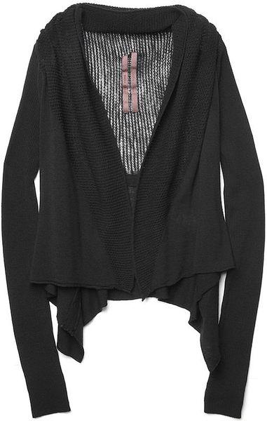 Rick Owens Mesh Knit Cardigan in Black