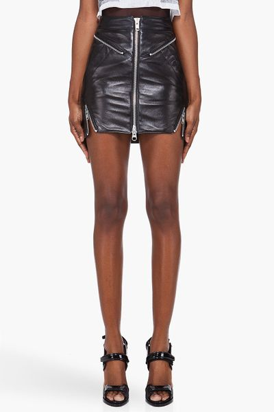 unttld leather biker zip skirt in black lyst