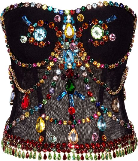 Dolce & Gabbana Crystal-embellished Stretch-tulle Bustier in Black - Lyst
