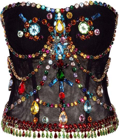 Dolce & Gabbana Crystal-embellished Stretch-tulle Bustier in Black