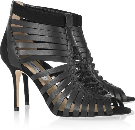 Jimmy Choo Mandy Leather Cage Sandals in Black