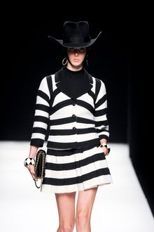 Moschino Fall 2012 Short Single-Breasted White Striped Coat with Black Collar - Lyst