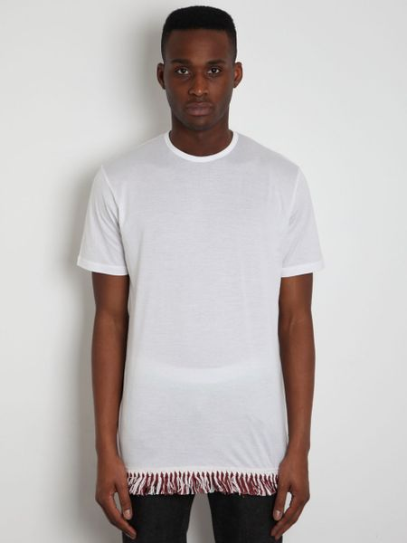 J w anderson jw anderson mens fringe detail t shirt in for Mens shirt with tassels