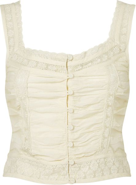 Topshop Lace Button Front Crop Top in White (cream)